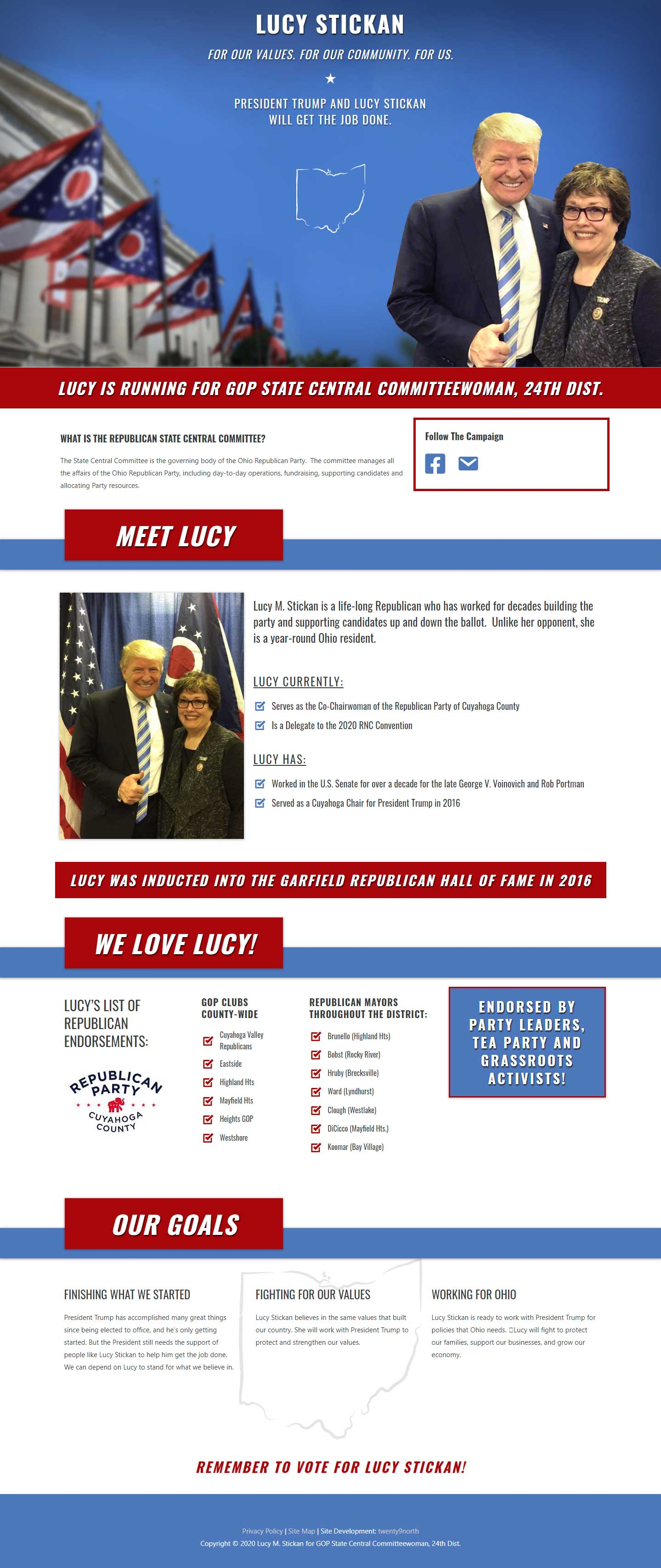 Elect Lucy M Stickan for GOP State Central Committeewoman 24th District